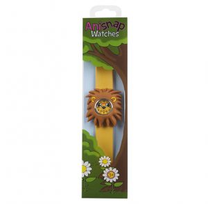 brown lion watch with caramel coloured snapband