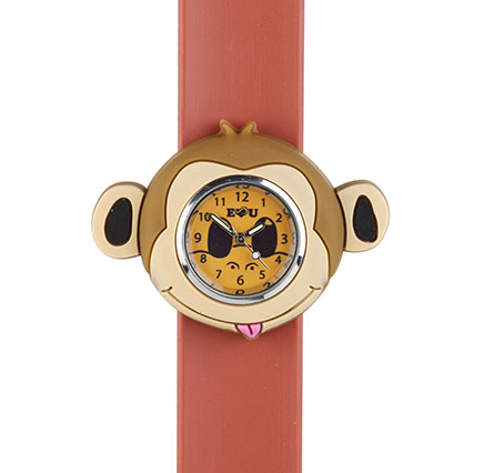 monkey watch on a brown strap