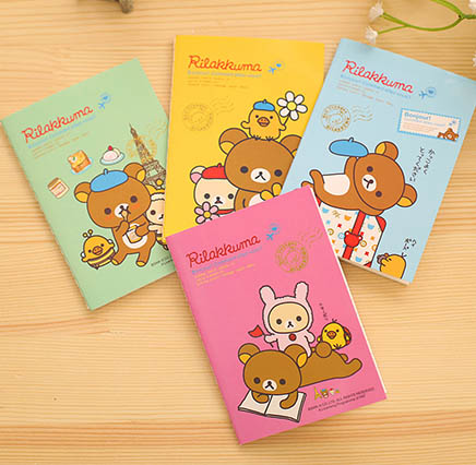 Rilakkuma notebook - pocket size - four different colours available - pink, blue, yellow and green - all feature the cute Rilakkuma bear