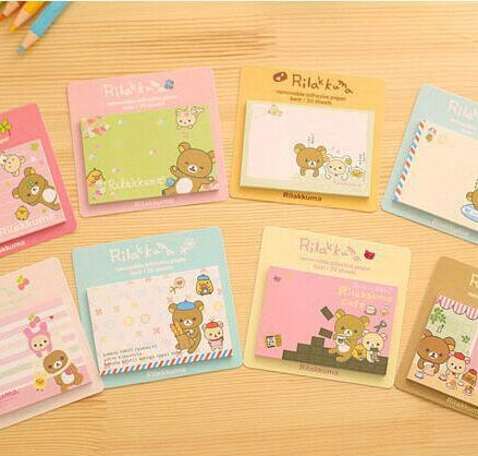 Rilakkuma small size sticky notes pads. 7.5cm x 5cm multicoloured with cute bear design