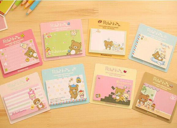 Rilakkuma small size sticky notes pads. 7.5cm x 5cm multicoloured with cute bear design