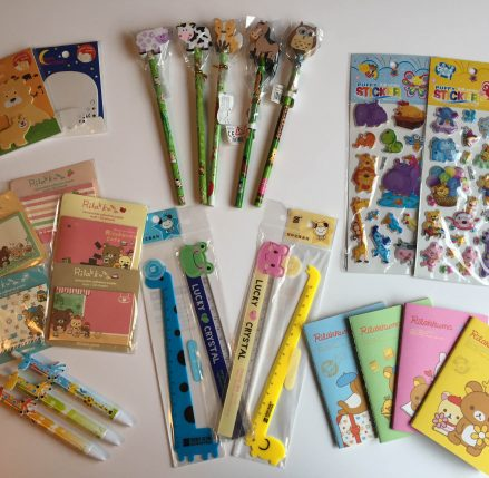 Teacher Rewards Pack comprising colourful animal themed stationery items including pens, pencils, stickers, notebooks, rulers and sticky note pads