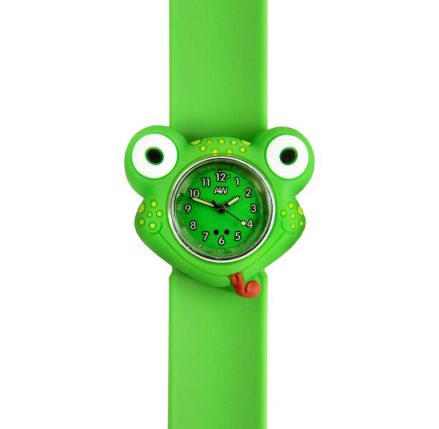 Frog Watch - frog shaped watch face with a green snapband