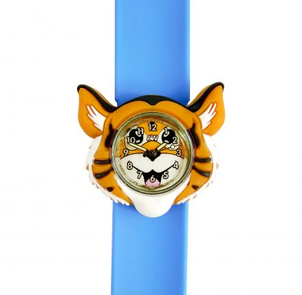 Tiger watch face on a blue snapband