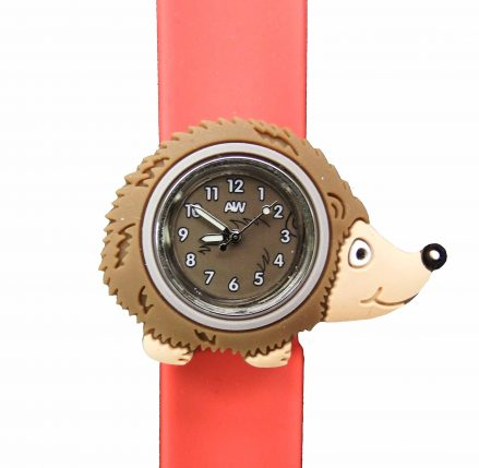 Hedgehog Watch - brown hedgehog shaped watch face on an orange snapband