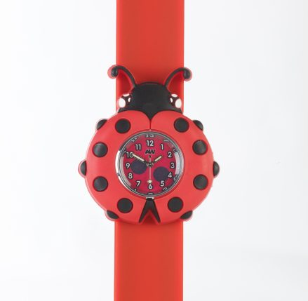 Ladybird shaped watch face on a red snapband