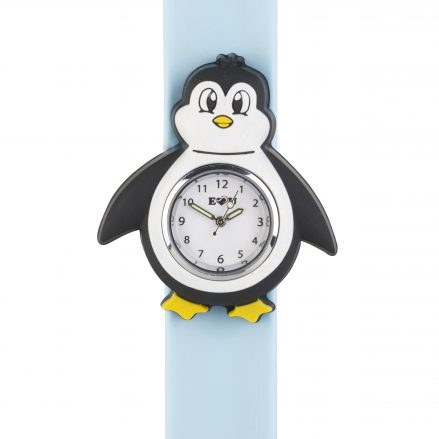 Penguin shaped watch face on a pale blue snapband
